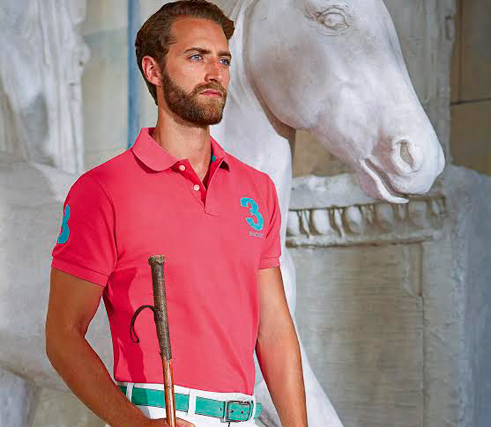 Hackett pink polo t shirt