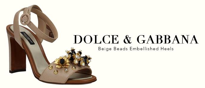 Beige embellished heels