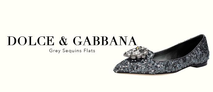 Grey sequins flats