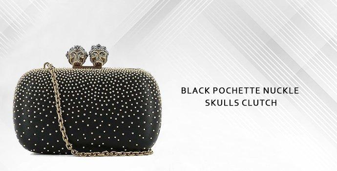 Alexander Mcqueen Black Pochette Nuckle Skulls Clutch