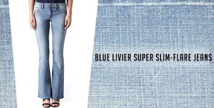 Blue Livier Super Slim-Flare Jeans: Diesel jeans