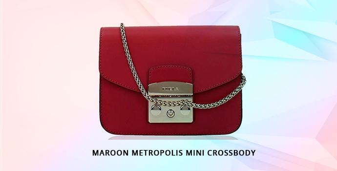 Furla Maroon Metropolis Mini Crossbody