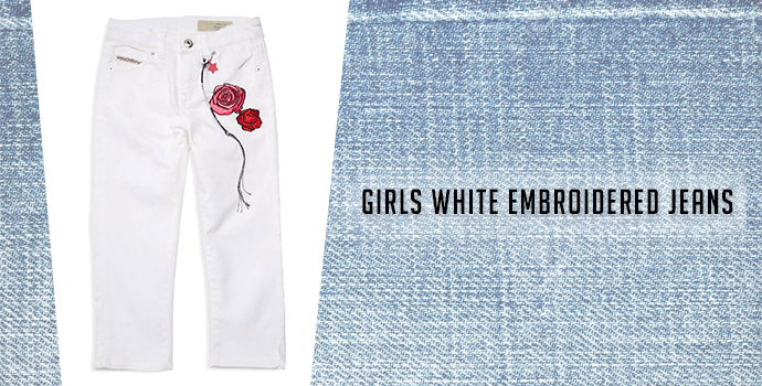 Girls White Embroidered Jeans: Diesel jeans