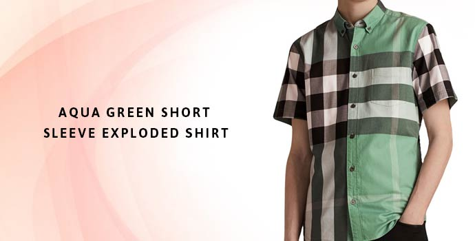 BURBERRY Aqua Green Short Sleeve Exploded Shirt