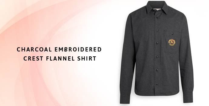 BURBERRY Charcoal Embroidered Crest Flannel Shirt