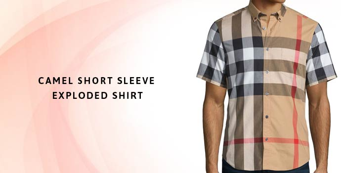 BURBERRY Camel Short Sleeve Exploded Shirt