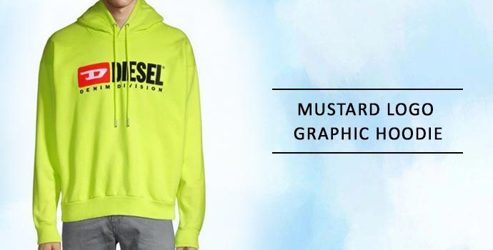 DIESEL Mustard Logo Graphic Hoodie