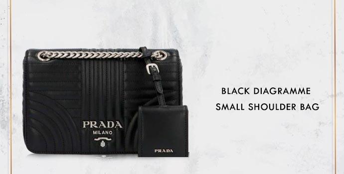 PRADA Black Diagrame Small Shoulder Bag
