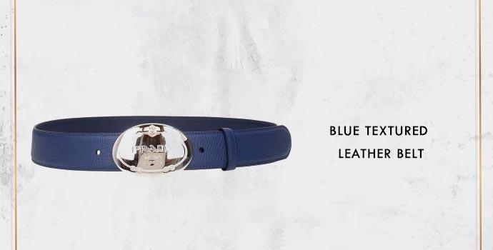 PRADA Blue Textured Leather Belt