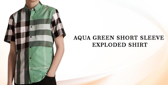 Burberry Aqua Green Short Sleeve Exploded Shirt