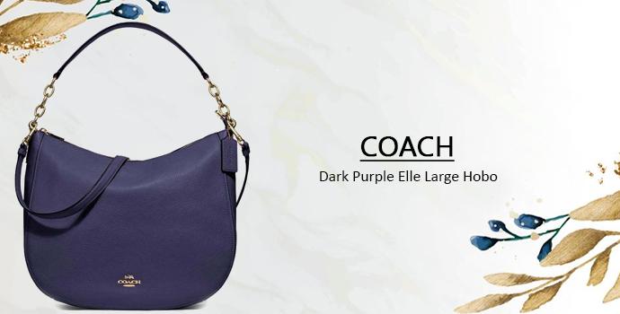 COACH Dark Purple Elle Large Hobo-women handbag