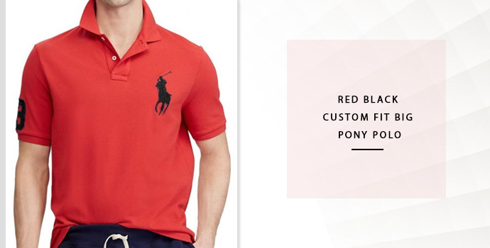 Ralph Lauren Red Black Custom Fit Big Pony Polo