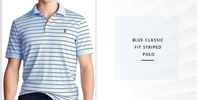 Ralph Lauren Blue Classic Fit Striped Polo