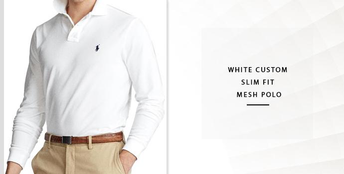 Ralph Lauren White Custom Slim Fit Mesh Polo