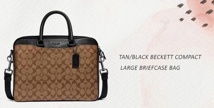 Coach Tan Black large Briefcase bag