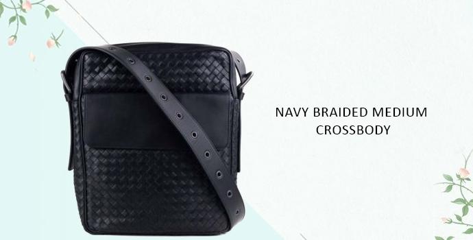 Bottega Veneta Navy Braided Medium Crossbody