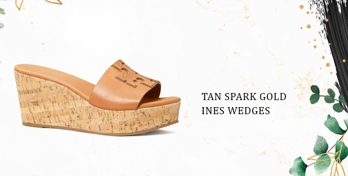 Tory Burch Tan Spark Gold Ines Wedges