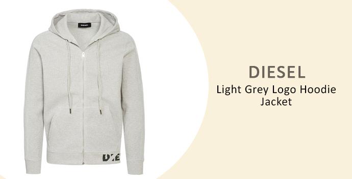 Diesel Light Grey Logo Hoodie Jacket