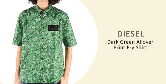 Diesel Dark Green Allover Print Fry Shirt