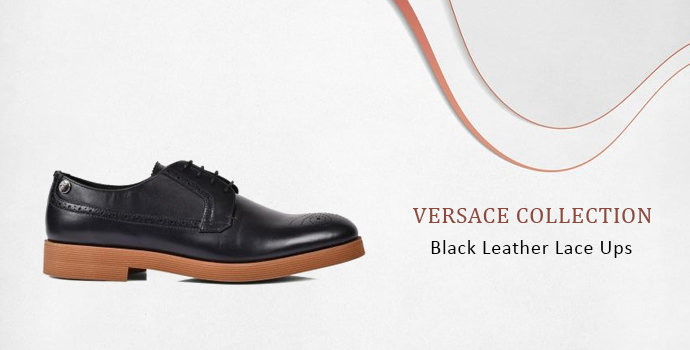 Versace Collection Black Leather Lace Ups