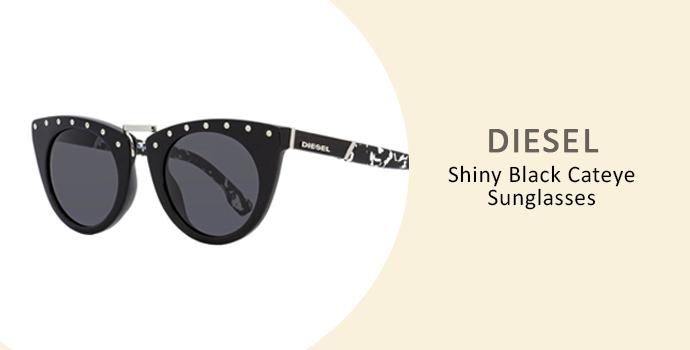 Diesel Shiny Black Cateye Sunglasses