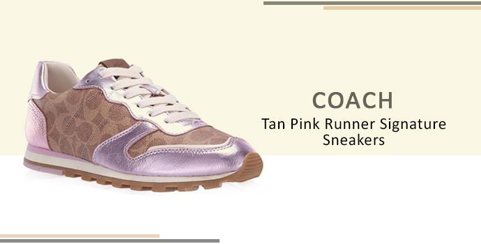 Coach Tan Pink Runner Signature Sneakers