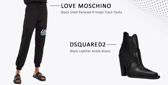 Love Moschino track pants and Dsquared2 leather boots