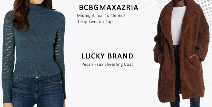 Lucky Brand faux shearling coat layered over BCBGMaxazria turtleneck sweater