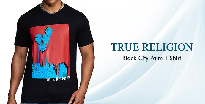 True Religion Black City Palm T-shirt