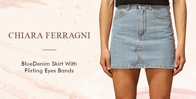 Chiara Ferragni Blue Denim Skirt With Flirting Eyes Bands