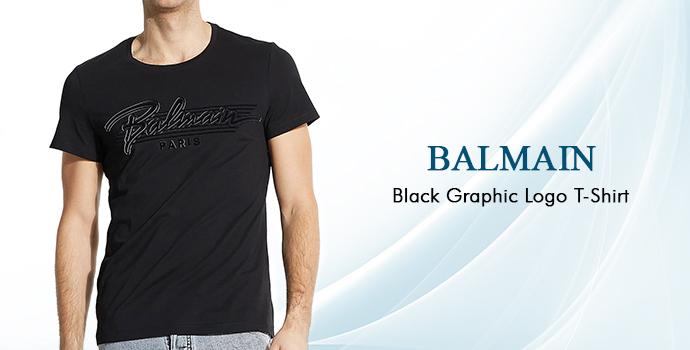 Balmain Black Graphic Logo T-shirt