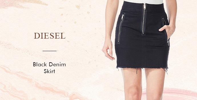 Diesel Black Denim Skirt