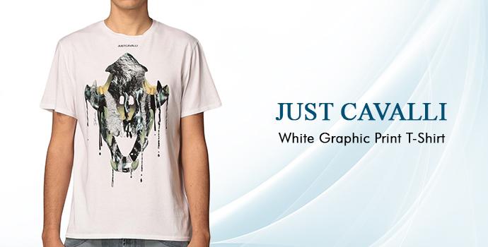 Just Cavalli White Graphic Print T-shirt