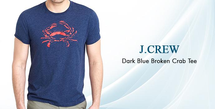 J. Crew Dark Blue Broken Crab Tee