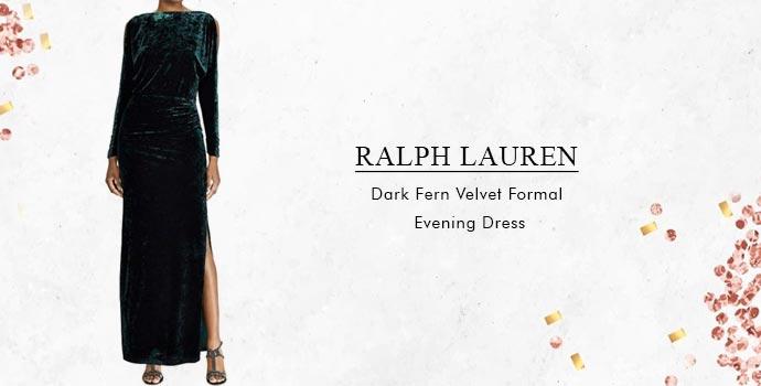 Ralph Lauren Dark Fern Velvet Formal Evening Dress