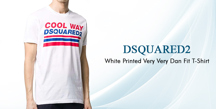Dsquared2 White Printed Very Very Dan Fit T-shirt