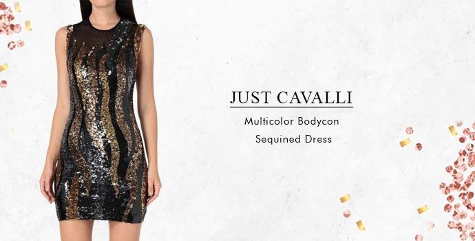 Just Cavalli Multicolor Bodycon Sequined Dress