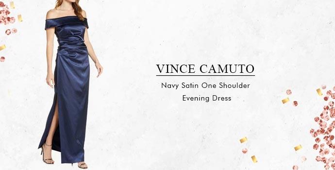 Vince Camuto Navy Satin One Shoulder Evening Dress