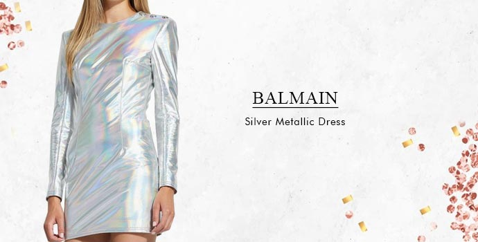 Balmain Silver Metallic Dress