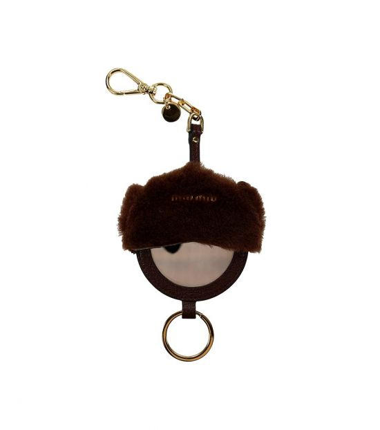 Miu Miu Brown Mirror Detail Key Holder